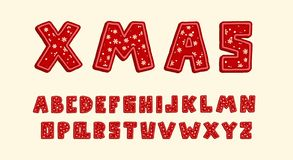 Alphabet Christmas design. Upper case English letters. Bold font clip art, typography style. Hand drawn vector. Alphabet Christmas design. Snowflakes on red vector illustration