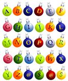 Alphabet on Christmas Ornaments. A clip art illustration of the alphabet on Christmas ornaments, with a few extras - @ and dollar signs. Make your own holiday Stock Photos