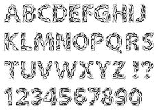 Alphabet of a circuit style letters and digits. Techno typescript. Royalty Free Stock Image