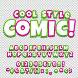 Alphabet collection set. Comic pop art style. Letters, numbers and figures for kids' illustrations, books Royalty Free Stock Images