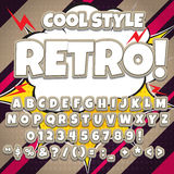 Alphabet collection set. Comic pop art style. Light color version. Letters, numbers and figures for kids Stock Images