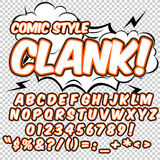 Alphabet collection set. Comic pop art style. Light color version. Letters, numbers and figures for kids Royalty Free Stock Photos