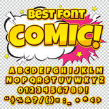 Alphabet collection set. Comic pop art style. Light color version. Letters, numbers and figures for kids. ' illustrations, websites, comics, banners Royalty Free Stock Images