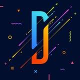 Alphabet coloré abstrait moderne avec la conception minimale Lettre D Fond abstrait avec les éléments géométriques lumineux frais Photo stock