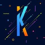 Alphabet coloré abstrait moderne avec la conception minimale Lettre K Fond abstrait avec les éléments géométriques lumineux frais Images stock