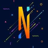 Alphabet coloré abstrait moderne avec la conception minimale Lettre N Fond abstrait avec les éléments géométriques lumineux frais Photos libres de droits