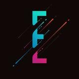 Alphabet coloré abstrait moderne L'encre liquide dynamique éclabousse la lettre Élément de conception de vecteur pour votre art L Photos stock