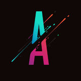 Alphabet coloré abstrait moderne L'encre liquide dynamique éclabousse la lettre Élément de conception de vecteur pour votre art M Image libre de droits