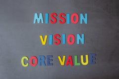 Alphabet coloré des concepts de VALEUR de MISSION, de VISION et de NOYAU photos libres de droits