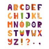Alphabet coloré tiré par la main de Halloween illustration libre de droits