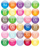 Alphabet colorful vector collection. Alphabet letters placed on colorful vector buttons Royalty Free Stock Photography
