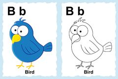 Alphabet coloring book page with outline clip art to color. Letter B. Bird. Vector animals. royalty free illustration