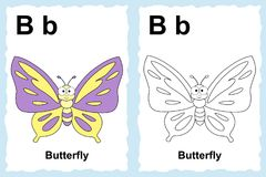 Alphabet coloring book page with outline clip art to color. Letter B. Butterfly. Vector animals. royalty free illustration