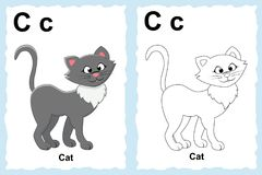 alphabet coloring book page with outline clip art to color. Letter C. Cat. stock illustration