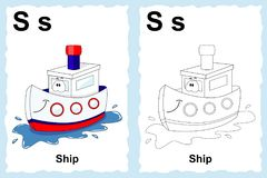 Alphabet coloring book page with outline clip art to color. Letter S. Ship. Vector vehicles. stock illustration