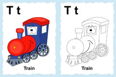 Alphabet coloring book page with outline clip art to color. Letter T. Train. Vector vehicles. stock illustration