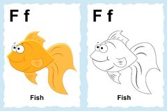 Alphabet coloring book page with outline clip art to color. Letter F. Fish. Vector animals. stock illustration
