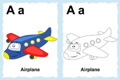 Alphabet coloring book page with outline clip art to color. Letter A. Airplane. Vector vehicles. vector illustration