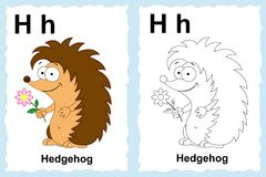 Alphabet coloring book page with outline clip art to color. Letter H.Hedgehog. Vector animals. royalty free illustration
