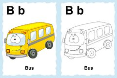 Alphabet coloring book page with outline clip art to color. Letter B. Bus. Vector vehicles. stock illustration