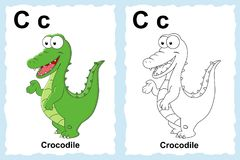 alphabet coloring book page with outline clip art to color. Letter C. Crocodile vector illustration