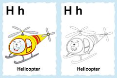 Alphabet coloring book page with outline clip art to color. Letter H. Helicopter. Vector vehicles. vector illustration