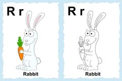 Alphabet coloring book page with outline clip art to color. Letter R. Rabbit. Vector animals. stock illustration