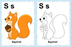 Alphabet coloring book page with outline clip art to color. Lett. Er S. Squirrel Stock Photos