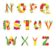 Alphabet composed by fruits and vegetables, second part Stock Photography