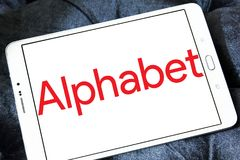 Alphabet conglomerate logo. Logo of Alphabet conglomerate company on samsung tablet. Alphabet Inc. is an American multinational conglomerate. It is now the stock photography