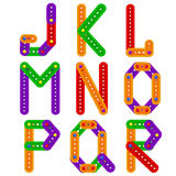 Alphabet from constructor from J to R Royalty Free Stock Photography