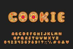 Alphabet cookie design. Letters, numbers and punctuation marks. EPS 10. Alphabet cookie design. Letters, numbers and punctuation marks. Decorative font for stock illustration