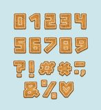 Alphabet cookie design. Numbers and punctuation marks. Bold font clip art, typography style. Hand drawn vector. Illustration. Layered EPS 10 royalty free illustration