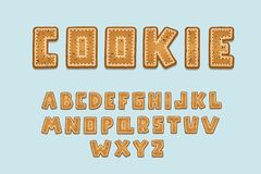 Alphabet cookie design. Upper case English letters. Bold font clip art, typography style. Hand drawn vector illustration. Alphabet cookie design. Upper case vector illustration