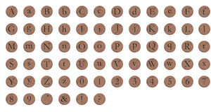 Alphabet Copper Round Stock Photos