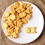 Alphabet cracker word  ok Royalty Free Stock Images