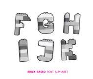 Alphabet created from playing bricks. Royalty Free Stock Photos