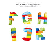 Alphabet created from playing bricks Royalty Free Stock Image