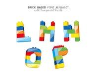 Alphabet created from playing bricks Royalty Free Stock Photo