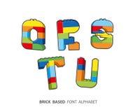 Alphabet created from playing bricks. Stock Photos