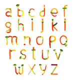 Alphabet created by vegetables Stock Photos