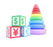Alphabet cube finance sign piramid toy. On a white background Royalty Free Stock Photos