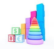 Alphabet cube finance sign pyramid toy. On a white background Royalty Free Stock Photography