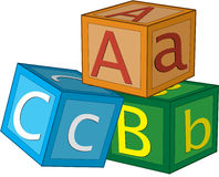Alphabet cubes. Computer illustration of three children's 3D alphabet cubes with letters A,B,C Royalty Free Stock Photo