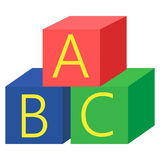 Alphabet cubes with A,B,C letters icon, vector illustration. Flat style design isolated on white. Colorful graphics royalty free illustration