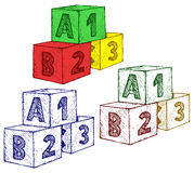 Alphabet cubes with A,B,C letters and numerals Stock Image