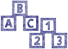 Alphabet cubes with A,B,C letters and numerals Royalty Free Stock Images