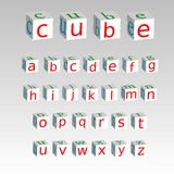 Alphabet on a cubes isolated on background, stock vector illustr Stock Photo
