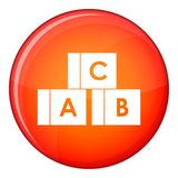 Alphabet cubes with letters A,B,C icon, flat style Royalty Free Stock Image