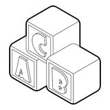 Alphabet cubes with letters A,B,C icon Stock Photos